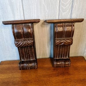 Vtg wooden wall scroll shelves set of 2
